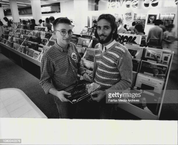 Palings New Store in Fitt Street Records Manager Robert Barnhill in the record Dept with Adrian Allison of Maroubra April 26 1983