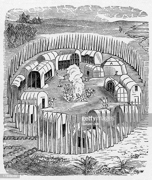 A palisaded Iroquois village These villages were usually built on the tops of steepsided hills to give natural defences and a palisade was often...