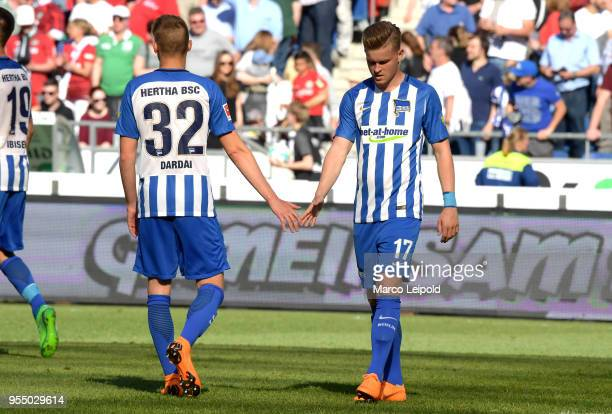 Palko Dardai and Maximilian Mittelstaedt of Hertha BSC after the Bundesliga game between Hannover 96 and Hertha BSC at HDI Arena on May 5 2018 in...