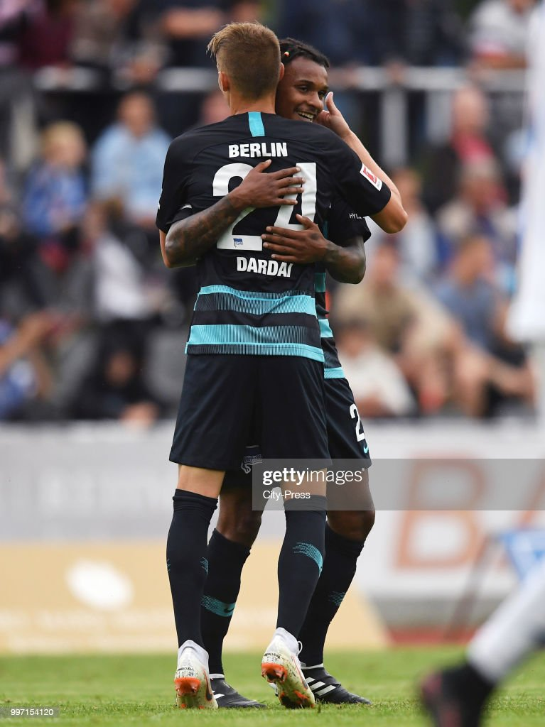 Palko Dardai and Valentino Lazaro of Hertha BSC celebrate after scoring the 0:5 during the game between MSV Neuruppin against Hertha BSC at the Volkspar-Stadion on july 12, 2018 in Neuruppin, Germany.