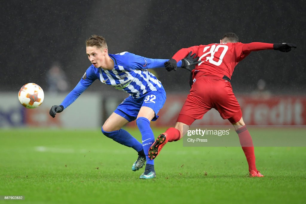 Palko Dardai of Hertha BSC and Gabriel Somi of Oestersunds FK during the UEFA Europa League, Group J match between Hertha BSC and Oestersunds FK on December 7, 2017 in Berlin, Germany.