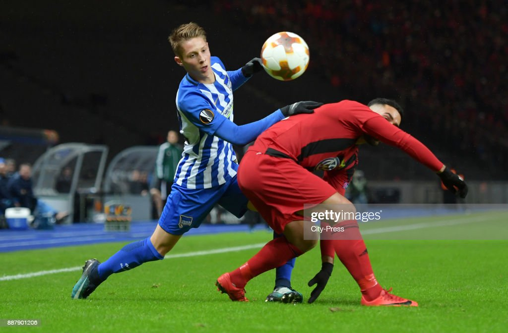 Palko Dardai of Hertha BSC and Saman Ghoddos of Oestersunds FK during the Uefa Europa League, Group J match between Hertha BSC and Oestersunds FK on december 7, 2017 in Berlin, Germany.