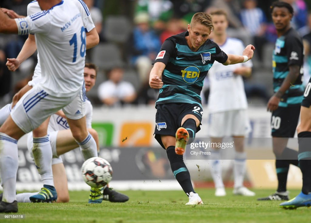 5 during the game between MSV Neuruppin against Hertha BSC at the Volkspar-Stadion on july 12, 2018 in Neuruppin, Germany.