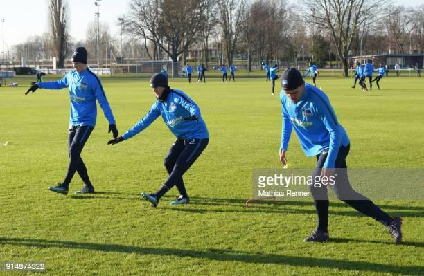 Palko Dardai Per Skjelbred and Karim Rekik of Hertha BSC during the training session at the Schenkendorfplatz on february 6 2018 in Berlin Germany