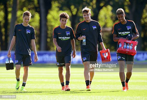 Palko Dárdai Maurice Covic Florian Baak and Sidney Friede of Hertha BSC during the training on september 6 2016 in Berlin Germany