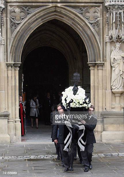 Pall bearers carry the coffin as they leave the funeral service for fashion stylist Isabella Blow at Gloucester Cathedral on May 15 2007 in...