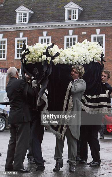 Pall bearers carry the coffin at the funeral service for fashion stylist Isabella Blow at Gloucester Cathedral on May 15 2007 in Gloucester England...