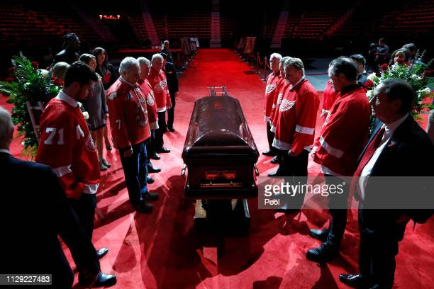 Pall Bearers move the casket of former Detroit Red Wings player Ted Lindsay at a public viewing Friday March 8 in Detroit Lindsay pioneered the first...