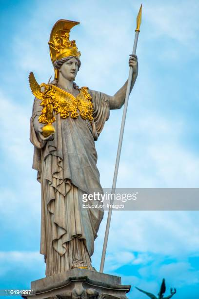 Pallas Athena statue at the Parliament Building Vienna Austria