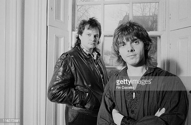 Pallas UKbased progressive rock band posing for a portrait at Holland Park Studios London England Great Britain in January 1986