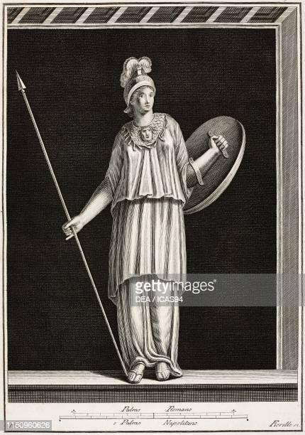 Pallas with helmet shield and spear Herculaneum Campania Italy engraving by Fiorillo from Le antichita di Ercolano esposte VvAa volume V plate 3...