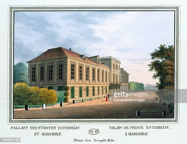 Pallast des Fürsten Esterházy zu Mariahilf [Summer palais Esterházy] 1825 Colored copper engraving Journal No 46 from >Wiens vorzüglichste Gebäude...