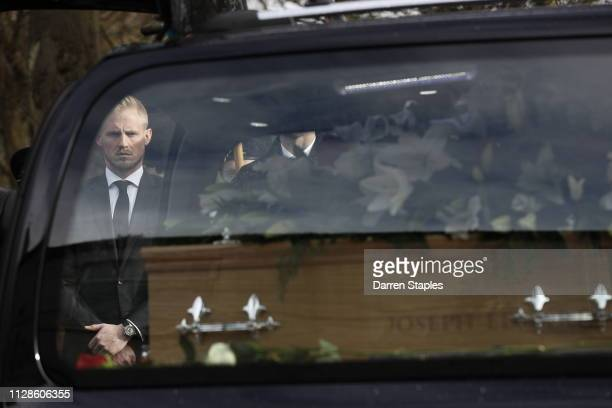 Pallbearer Kasper Schmeichel stands outside Stoke Minster church on March 4 2019 in Stoke England Gordon Banks considered one of the finest...