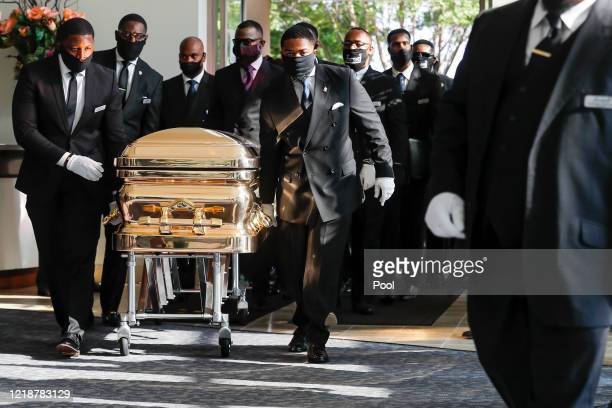 Pallbearers bring the casket into the church for the funeral for George Floyd at The Fountain of Praise church on June 9 2020 in Houston Texas Floyd...
