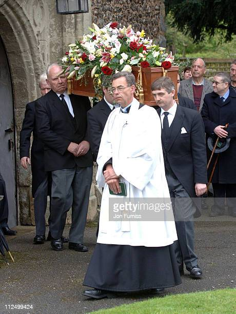 Pallbearers carry coffin of Sir John Mills during Funeral of Actor Sir John Mills April 27 2005 at The Parish Church of Saint Mary the Virgin in...