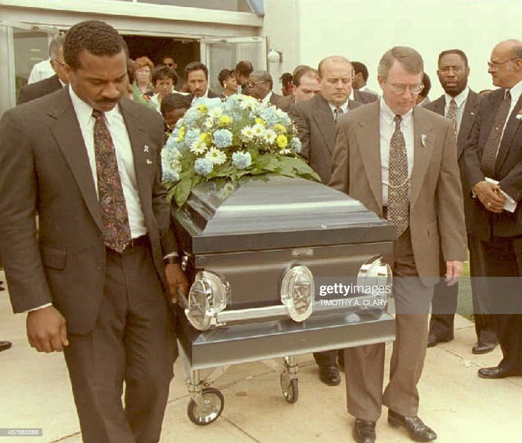 Pallbearers carry the casket after the memorial service for Aaron and Elijah Coverdale age 5 and age 2 respectively at New Zion Baptist Church 26 April in Oklahoma City. The two boys were killed in the bombing of the Federal Building 22 April.