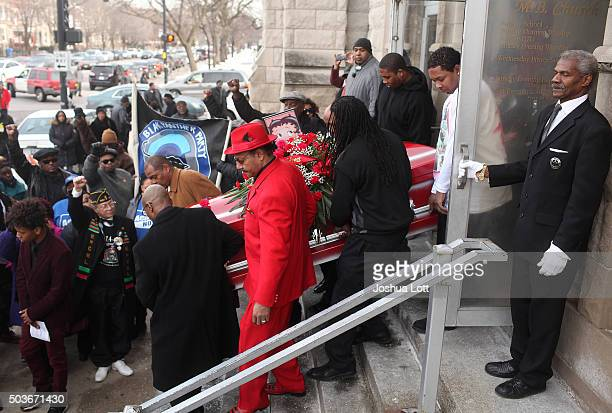 Pallbearers carry the casket of Bettie Jones during her funeral at New Mount Pilgrim Missionary Baptist Church January 6 2016 in Chicago Illinois...