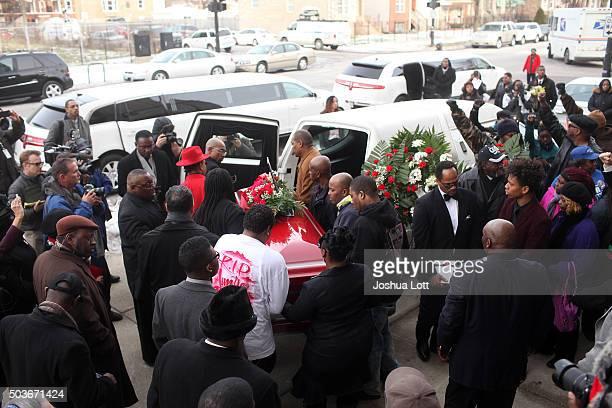 Pallbearers carry the casket of Bettie Jones to an awaiting hearse during her funeral at New Mount Pilgrim Missionary Baptist Church January 6 2016...