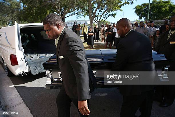 Pallbearers carry the casket of Corey Jones as they arrive for his funeral at the Payne Chapel AME church on October 31 2015 in West Palm Beach...