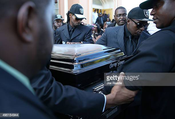 Pallbearers carry the casket of Corey Jones during his funeral at the Payne Chapel AME church on October 31 2015 in West Palm Beach Florida The 31...