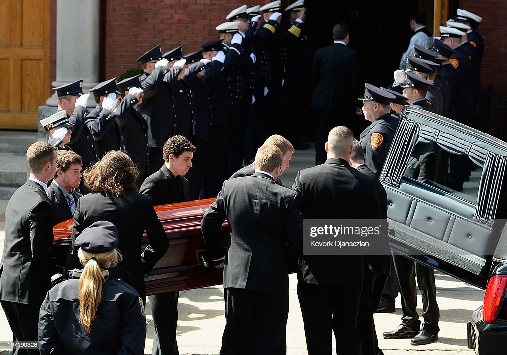 Pallbearers carry the casket of Krystle Campbell, a victim of the Boston Marathon bombing, to St. Joseph Catholic Church for her funeral on April 22, 2013 in Medford, Massachusetts. A manhunt ended for Dzhokhar A. Tsarnaev, 19, a suspect in the Boston Marathon bombing after he was apprehended on a boat parked on a residential property in Watertown, Massachusetts. His brother Tamerlan Tsarnaev, 26, the other suspect, was shot and killed after a car chase and shootout with police. The bombing, on April 15 at the finish line of the marathon, killed three people and wounded at least 170.