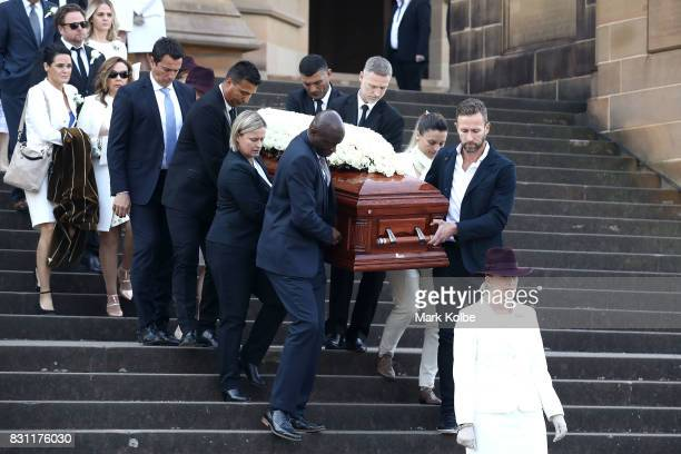 Pallbearers carry the casket of Les Murray following the State Funeral service for Les Murray at St Mary's Cathedral on August 14 2017 in Sydney...