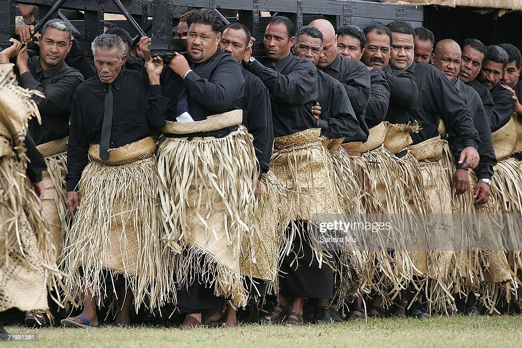 Pallbearers carry the Catafalque carrying the Late King Taufa'ahau Tupou IV from the Royal Palace to the Mala'e Kula burial site during the State Funeral for King Taufa'ahau Tupou IV of Tonga at his chiefly burial ground on September 19, 2006 in Nuku'alofa, Tonga. King Taufa'ahau Tupou IV died on September 10, 2006 after a long illness. He was 88 and had been ruler of Tonga since the death of his mother in 1965. Crown Prince Tupouto'a has taken over the king's duties.
