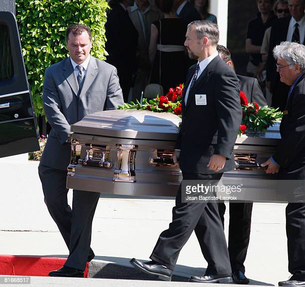 Pallbearers carry the coffin during Cyd Charisse's Funeral Service at Hillside Memorial Park on June 22 2008 in Culver CityCalifornia