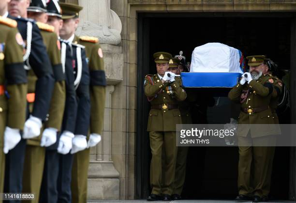 Pallbearers carry the coffin of Grand Duc Jean of Luxembourg out of the NotreDame Cathedral during the funeral ceremony for Jean d'Aviano Grand Duke...