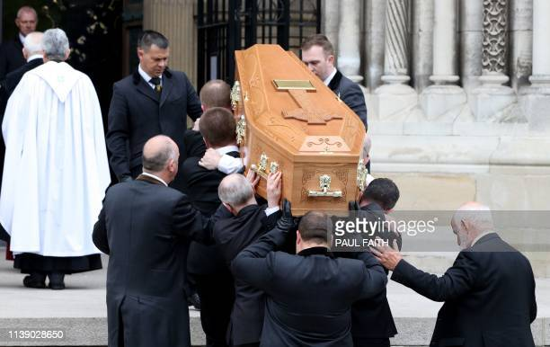 Pallbearers carry the coffin of journalist Lyra McKee who was killed by a dissident republican paramilitary in Northern Ireland on April 18 during...