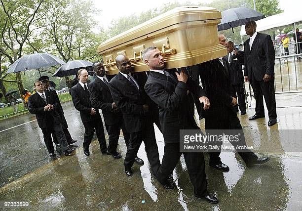 Pallbearers carry the coffin of Luther Vandross into the Riverside Church on the upper West Side for funeral services The RB legend who suffered a...