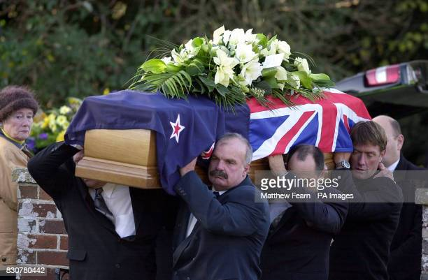Pallbearers carry the coffin of New Zealand born yachtsman Sir Peter Blake into St ThomasABecket parish church in Warblington Hampshire * The double...