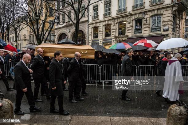 Pallbearers carry the coffin of the renowned French chef Paul Bocuse during his funeral in Lyon France on January 26 2018 Bocuse often referred to as...