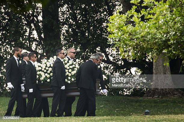 Pallbearers carry the Yvette Velasco's casket up to her funeral service at Forest Lawn Memorial Park in Covina Calif on Dec 10 2015 Yvette Velasco is...