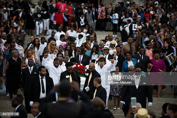Pallbearers carrying the casket of Philando Castile after his funeral at the Cathedral of St Paul on July 14 2016 in St Paul Minnesota Castile was...