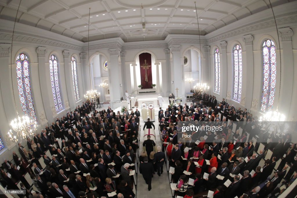DC: Funeral Mass Held For Rep. John Dingell At D.C.'s Holy Trinity Catholic Church