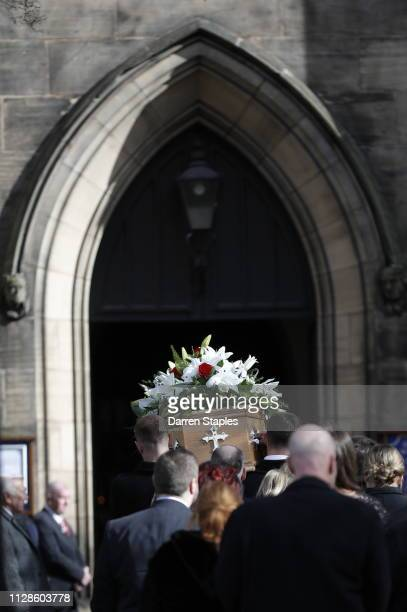 Pallbearers help carry the coffin of recently deceased former England goalkeeper Gordon Banks outside Stoke Minster on March 4 2019 in Stoke England...