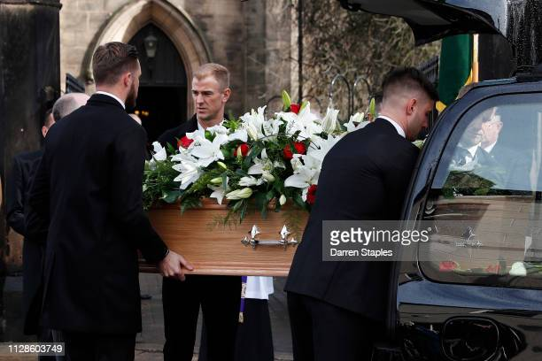 Pallbearers including goalkeepers Jack Butland and Joe Hart help carry the coffin of recently deceased former England goalkeeper Gordon Banks outside...
