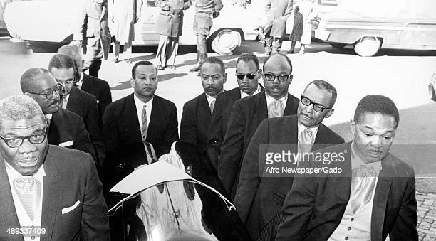 Pallbearers including Paul Moss Clarence Henderson John Murphy III Leeland Jones Freddie Howard Bob Matthews Marvin Davis and Edward Smith carrying...
