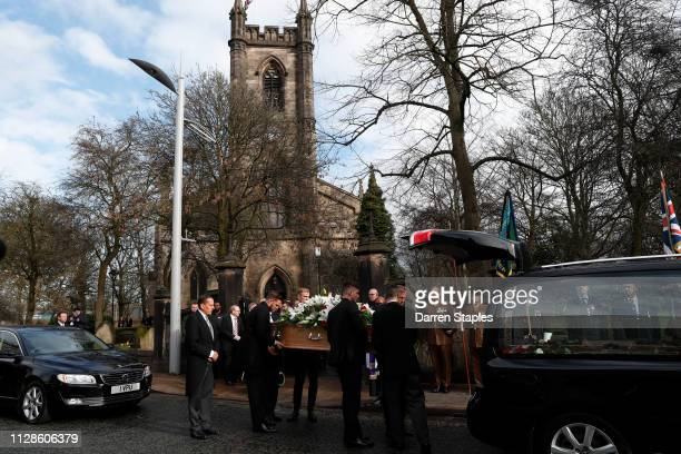 Pallbearers Jack Butland Joe Anyon and Kasper Schmeichel carry the coffin of recently deceased former England goalkeeper Gordon Banks outside Stoke...