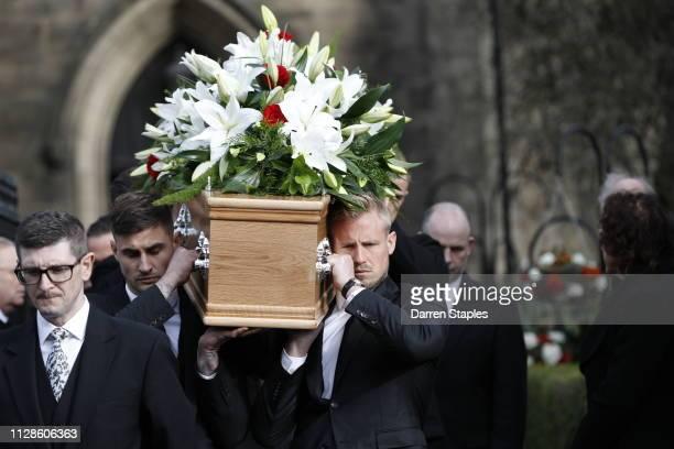 Pallbearers Joe Anyon and Kasper Schmeichel carry the coffin of recently deceased former England goalkeeper Gordon Banks outside Stoke Minster on...