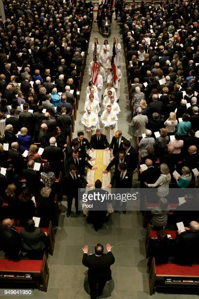 Pallbearers move casket of former first lady Barbara Bush after a funeral service at St Martin's Episcopal Church April 21 2018 in Houston Texas Bush...