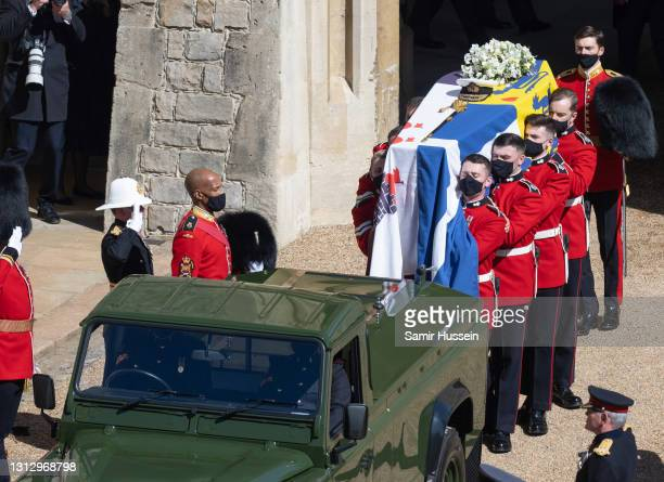 Pallbearers of the Royal Marines carry the coffin during the funeral of Prince Philip, Duke of Edinburgh on April 17, 2021 in Windsor, England....