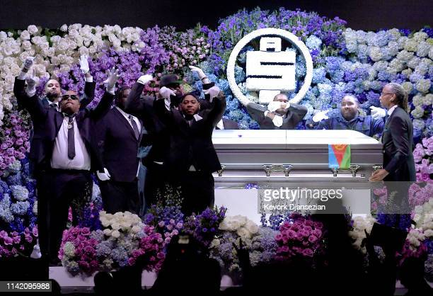 Pallbearers onstage during Nipsey Hussle's Celebration of Life at STAPLES Center on April 11 2019 in Los Angeles California Nipsey Hussle was shot...