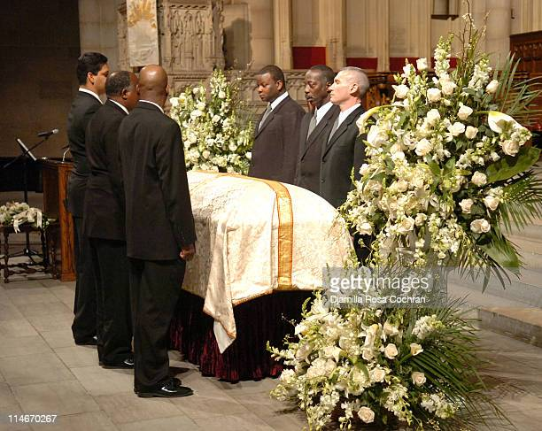 Pallbearers with Gordon Parks's Casket at Riverside Church during the funeral service for Photographer Gordon Parks on March 14 2006 in New York City