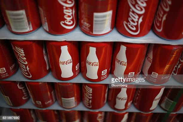 A pallet of CocaCola Co Classic brand soda cans sits stacked inside the warehouse at the Ball Corp beverage can manufacturing facility in Findlay...
