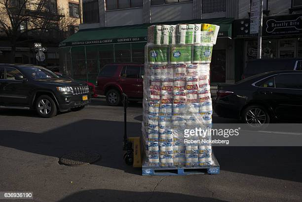 Pallet of paper products sits in the road outside a CVS store December 16, 2016 in Brooklyn, New York.