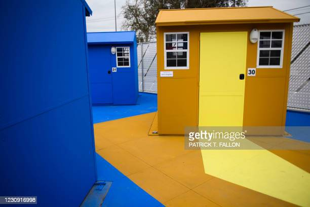 Pallet shelter at the Chandler Street Tiny Home Village on February 1, 2021 in the North Hollywood neighborhood of Los Angeles, California. - The...