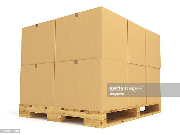 Pallet stacked with large cardboard boxes