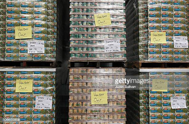 Pallets of canned vegetables sit in the warehouse at the San Francisco Food Bank on November 9 2010 in San Francisco California With only a few weeks...